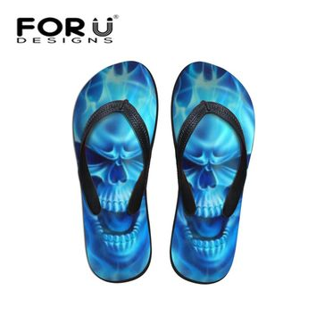 Cool Blue Fire Skull Print Men Sandals Flip Flops