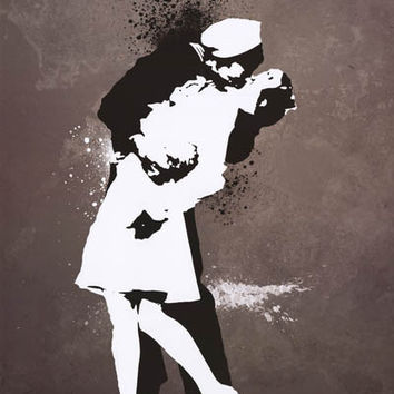 War's End Kiss Street Art Graffiti Poster 24x36