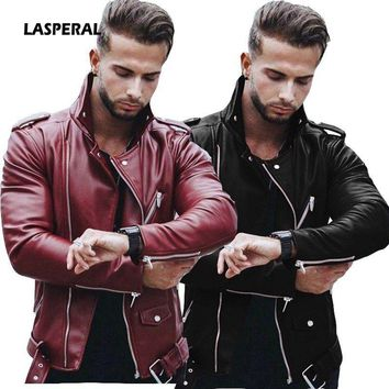 LASPERAL Plus Size Leather Jackets Mens Autumn Winter Fashion Fit Stand Collar Jacket Winter Zipper Patchwork Faux Leathers Coat