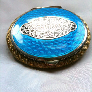 French Art Deco Silver and Blue Enamel Compact 1920s Vintage Accessories
