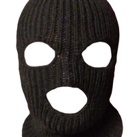 Knit Black Ski Mask For Man Handmade 3 Hole