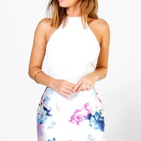 Francesca Floral Satin Skirt Bodycon Dress