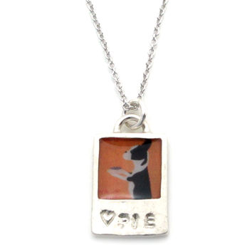 Vintage Poster -♥PIE-Sterling Silver Pendant Necklace