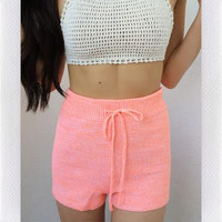 Knit You Shorts- Neon Pink