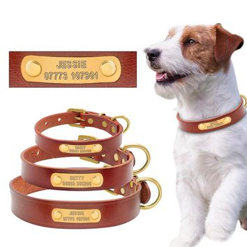 Leather Personalized Custom Dog ID Collar Free Engraved Brass ID Tag Puppy Name Phone Number Charm Plate For Small Medium Dogs