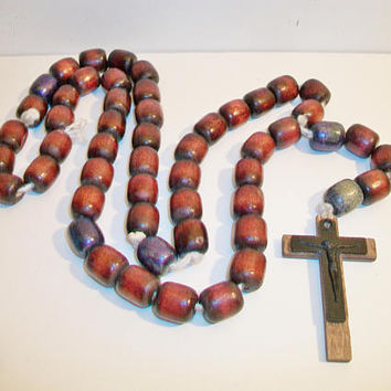 Large Wooden Rosary Beads Brown Wood Religious Cross Crucifix Catholic Faith