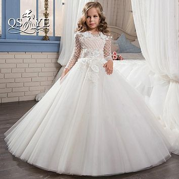 vestidos de comunion para ninas 2017 Ball Gown Flower Girl Dress for Wedding Beading 3D Flowers Tulle Vintage Communion Dress