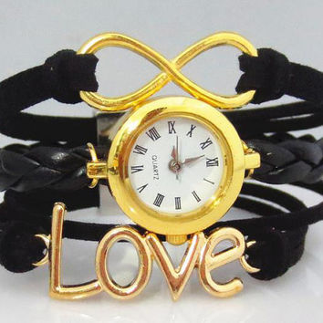 Bracelet Watch 108: Gold Infinity Love Charm Bracelet Watch, Black Bracelet Watch,Trending New style Watch, Best Chosen Gift