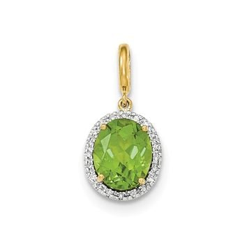 0.11 Ct  14k Yellow Gold Peridot W/diamond Halo Pendant