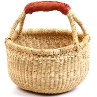 "Fair Trade Ghana Bolga African Dye-Free Mini Market Basket 7-9"" Across, #20122"