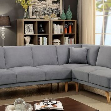 2 pc Hagen collection mid century modern gray padded flanellette fabric upholstered sectional sofa