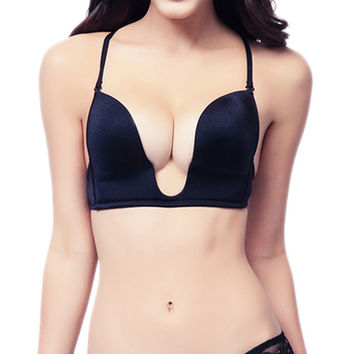 Ultra Deep U Quality Plunge Push up V Bra 3 Way Straps Convertible Maximum Cleavage Tops
