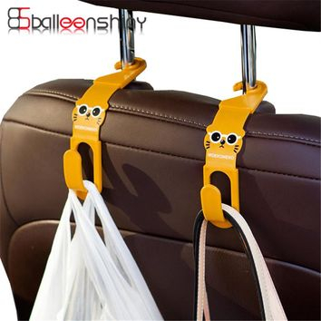 BalleenShiny 2Pcs/lot Cute Car Back Seat Hanger Storage Hook Car Accessories Sundries Hanger Organizer Holder Random Color