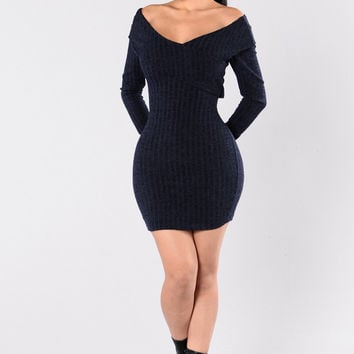 Money Talk Dress - Navy