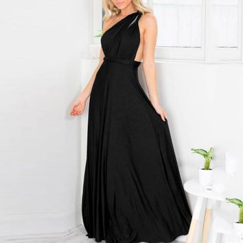 Women Black Party Dress One Shoulder Backless Convertible Multi Way Wrap 2019 Ladies Summer Formal Long Maxi Dress