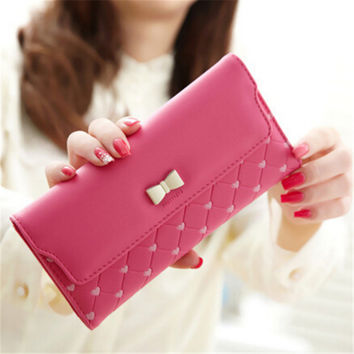 2016 Hot Women Girl Purse Wallet Fashion Long PU Leather Bow Cute ID Card Holders Handbag Wallets High Quality N534 portefeuille