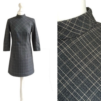 1960's Minidress - 60's Vintage Dress - Grey Check - 60's Checked Dress - Turtle Neck Mod Dress