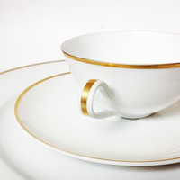 Hutschenreuther Selb Bavarian China Tea Cup Trio, White and Gold Porcelain Teacup and Saucer Set, Selb Bavaria Tea Set with Dinner Plate