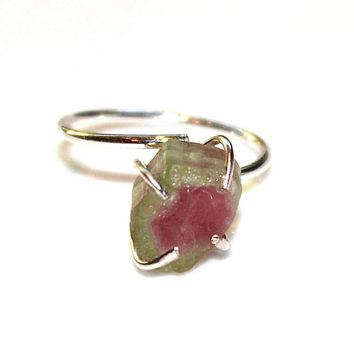 Raw Watermelon Slice Tourmaline Ring Tourmaline Ring Raw Ring Adjustable Ring Watermelon Tourmaline Slice Tourmaline Jewelry Delicate Ring