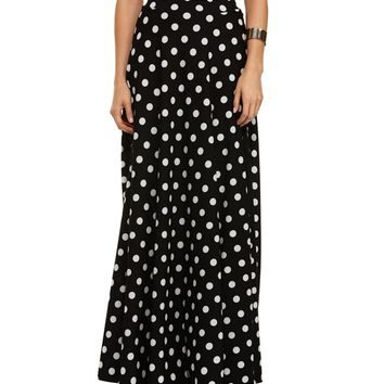 Black Polka Dot Flared Skirt