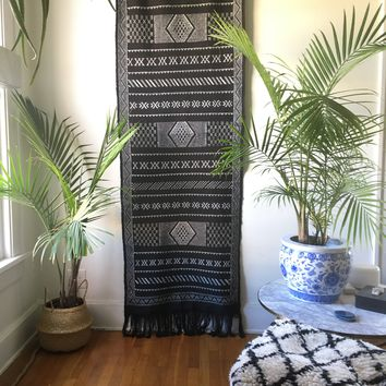 Moroccan Black & White Sabra Silk Cactus Runner Area Floor Rug / Carpet / Wall Hanging