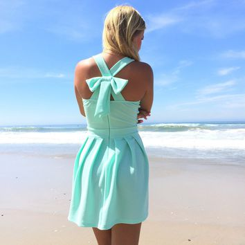 Green Chiffon Bow Back Graduation Prom Dress
