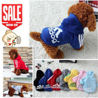Dog Clothes Pets Coats Soft Cotton Puppy Dog Clothes Adidog Clothes For Dog New Autumn Pet Products 7 colors XS-4XL