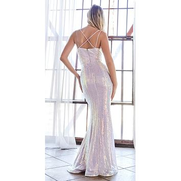Long Fitted Sequin Gown Opal-Lilac Deep Sweetheart Neckline Criss Cross Back