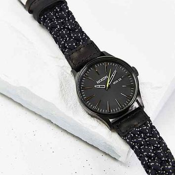 Nixon Sentry Reflective Leather Watch- Black One