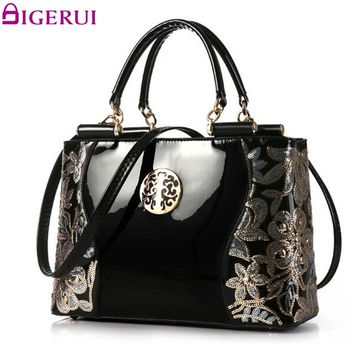 DIGERUI Handbag Female Women Patent Leather Handbags Good Quality Embroidery Vintage Shoulder Bags Female Messenger Bag A846