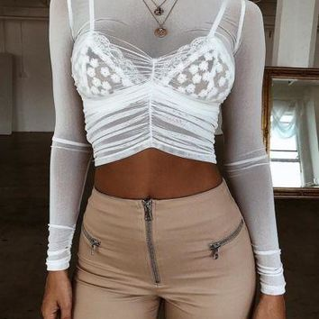 Women Sheer Mesh Fish Net Long Sleeve Turtle Neck See Crop Top T-Shirt Blouse US