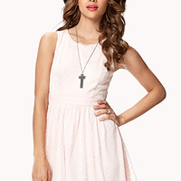 FOREVER 21 Polka Dot Crepe-Woven Dress Baby Pink Large