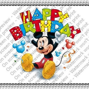"""8"""" Round ~ Mickey Mouse Happy Birthday Banner Birthday ~ Edible Image Cake/Cupcake Topper!!!"""