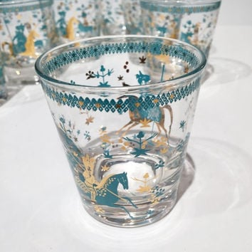 Mid Century Teal and Gold Polo Player Tumblers Set of 7, Blue Teal Gold Whisky Rocks Double Old Fashion Bar Low Ball Drinking Glasses