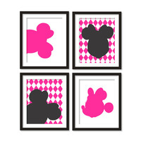 Kids artworks- room decor- minnie mouse silhouette- black hot pink diamonds - four arts