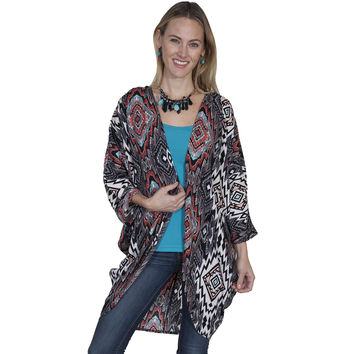 Scully Womens Colorful Geometric Print 3/4 Sleeve Kimono