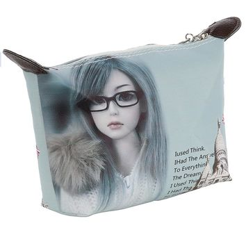 Anime Doll Face Vinyl Zipper Cosmetic Bag