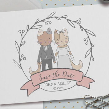 Save the Date Wedding Cards, Pack of 25, 5.5 x 4.25 Inch (A2),Custom Names and Date,Animal Portrait,Cat Illustrations,We're Getting Married!