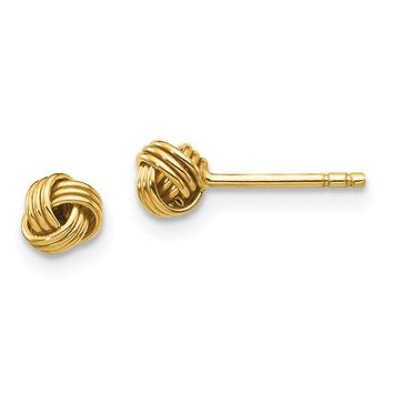 14K Yellow Gold Madi K Polished Love Knot Post Earrings