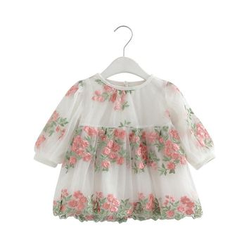 Flower Embriodery Lantern Sleeve Baby Girl Birthday Dress 0-2T