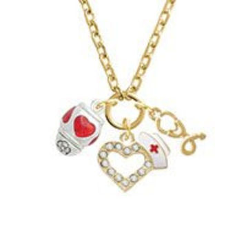 Red Heart Spinner Gold Tone Nurse Heart Stethoscope Zoe Necklace