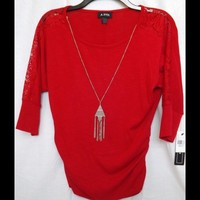 NWT!! Red Top with Necklace and Lace Sleeves!