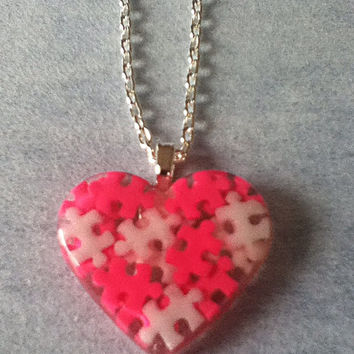 Autism Awareness Heart Puzzle Piece Resin Pendant Necklace, Autism Gift, Autism Mom, Pink, White, Autism Jewelry