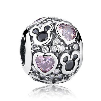 Baby Gift Charms Fit Original Bracelet Necklace 925-Sterling-Silver Mouse Dark Purple Heart Bead Jewelry Making PAS129