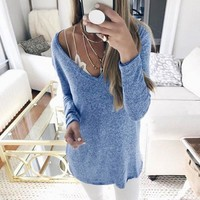 Women Plus Size S-5XL Fashion V Neck Tops Autumn Tee Long Sleeves Casual Basic Ladies Fall Clothing WS3891Y