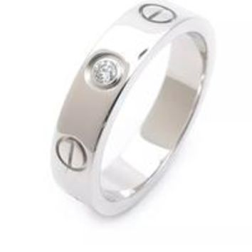 """Cartier"" Simple Women Men Personality Diamond Ring Lovers Lovely Rings Rhinestone Ring I"