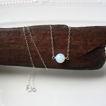 """Opal Moonstone Necklace, 14k Gold Fill or Sterling Silver,Dainty Thin Chain, Delicate Layering Necklace, Bridesmaid Gift,""""Skorpios"""" Necklace"""