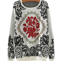 White Porcelain Totem Print Knitted Sweater