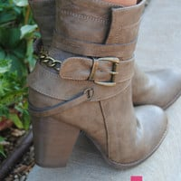 Strappy Ankle Booties in TAUPE