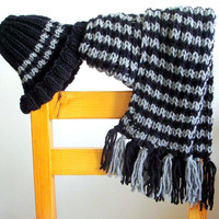 Hand Knit Scarf Hat Set  Chunky Scarf Hat Women - Men - Baby - Teen to Adult Fashion Accessories